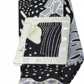 Ruban de soie Noir & Gris de 4 cm inscrit dans un anneau cadran