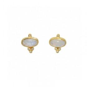 Boucles d'oreilles Puces dorées - Rainbow & Zircons blancs