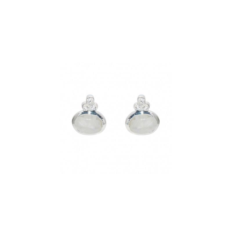 LuckyTeam - Boucles d'oreilles Puces Argent - Rainbow & Zircons blancs