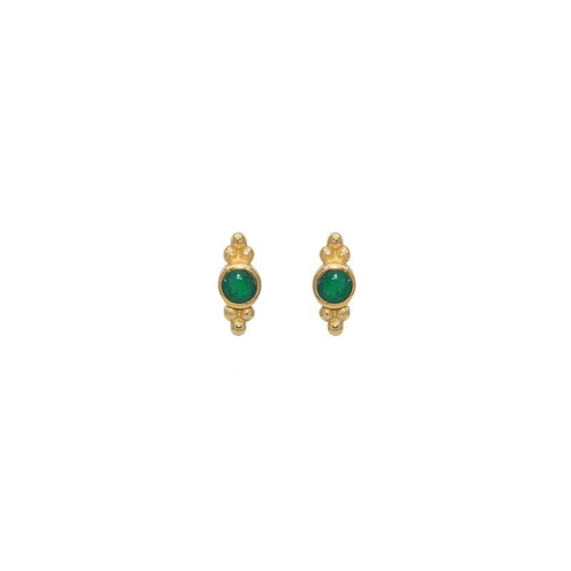 Boucles d'oreilles Puces dorées - Onyx verte ronde