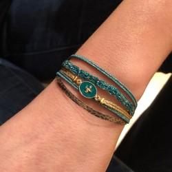 Bracelet Multi-rangs Rachel - Liens & Médaille Etoile vert doré