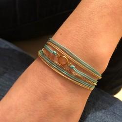 Bracelet multi-rangs Indy - Cordons turquoise doré & Pierre Quartz rose