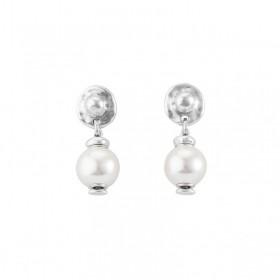 Boucles d'oreilles pendantes TEXCOCO en métal & Perle blanche