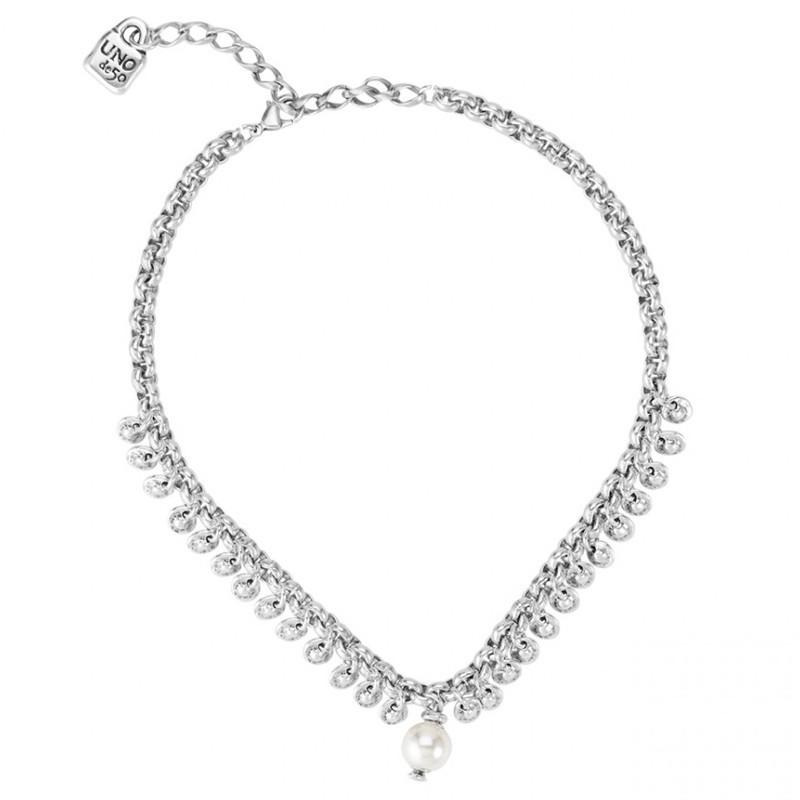 Collier court tout métal TEXCOCO - Breloques & Perle blanche - Uno de 50