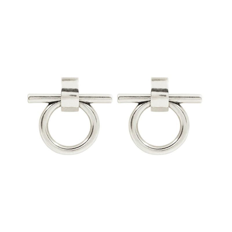 Boucles d'oreilles Puces Créoles BITS métal - Mors cavalier - CXC