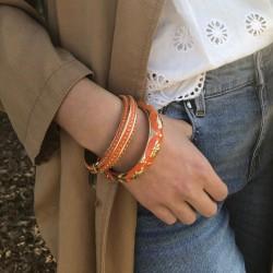 Bracelet Jonc Amok Doré émaillé Orange & Eventails dorés