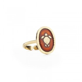 Lovely Day - Bague ajustable La Tortue - Fond rouge cornaline doré