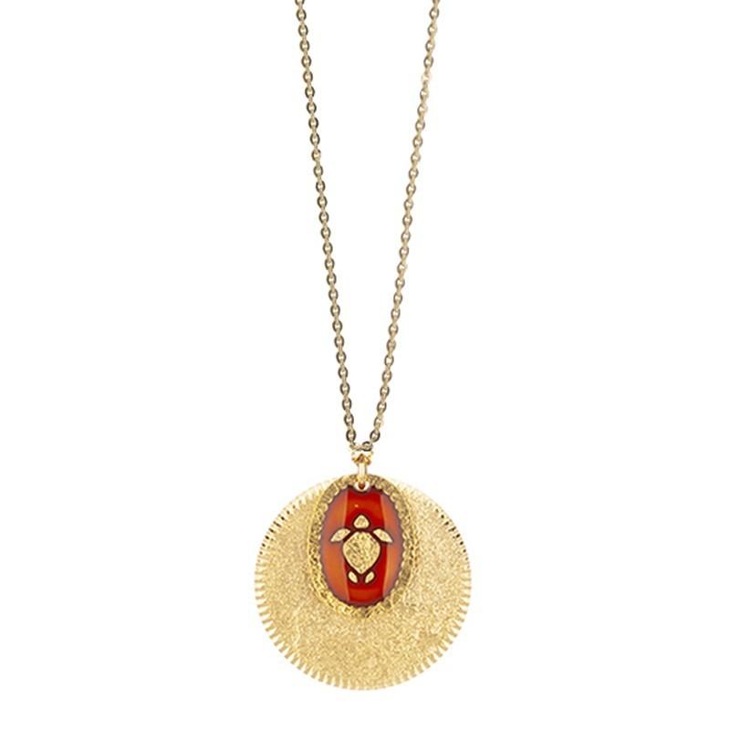 Collier sautoir Or La Tortue - Double médailles laquée rouge oranger