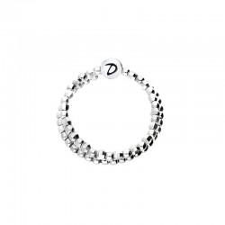 Bague Doriane - bague fine Argent 2 anneaux souples & petites boules facettées 1,5 mm
