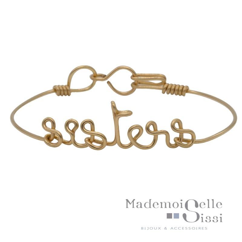 Bracelet jonc fin Or & Ecriture Sisters