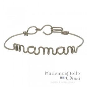 Bracelet jonc fin Argent & Ecriture Maman