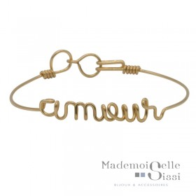 Bracelet jonc fin Or &  Ecriture Amour - BY HAVA