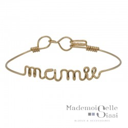 Bracelet jonc fin Or &  Ecriture Dream - BY HAVA