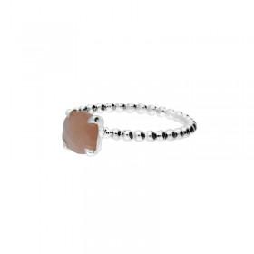 Bague Doriane - bague anneau fin boule Argent & Pierre pêche carrée 6 mm