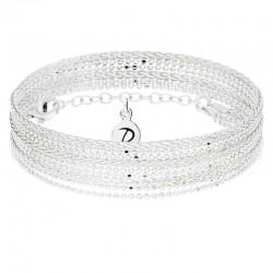 Bracelet multi-tours en argent Lovely - Jeux de chaînes boules & palmier