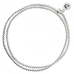 Bracelet élastique multi-tours Mini perles lisses en argent