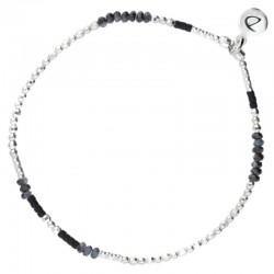 Bracelet élastique argent Imagin' - Perles & Perles de Miyuki noires