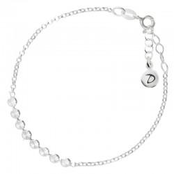Bracelet chaîne ajustable en Argent - Enfilade de pastilles striées