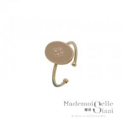 Bague BY GARANCE fine ajustable Rachel - Médaillon émaillé beige & Trèfle dorée