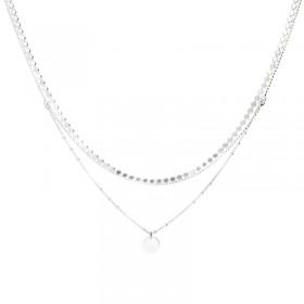 Collier multi-rangs Argent - Double rangs Pastille & Chaîne perle plate