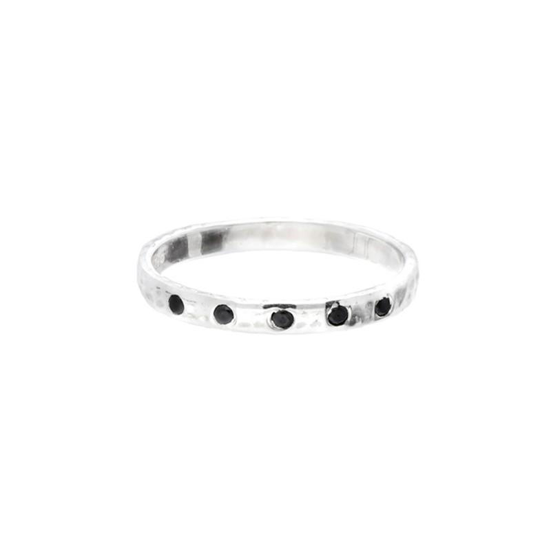 Bague Doriane - bague anneau fin martelé Argent & Pierres noires
