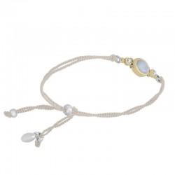 Bracelet cordons écru argent doré - Pierre de Lune & Perles blanches