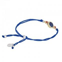 Bracelet cordons bleus argent doré - Lapis Lazuli & Perles Corail