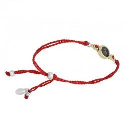 Bracelet cordons rouges dorés - Médaillon Labradorite & Corail