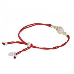 Bracelet cordons rouges argent doré - Opale rose & Perles blanches