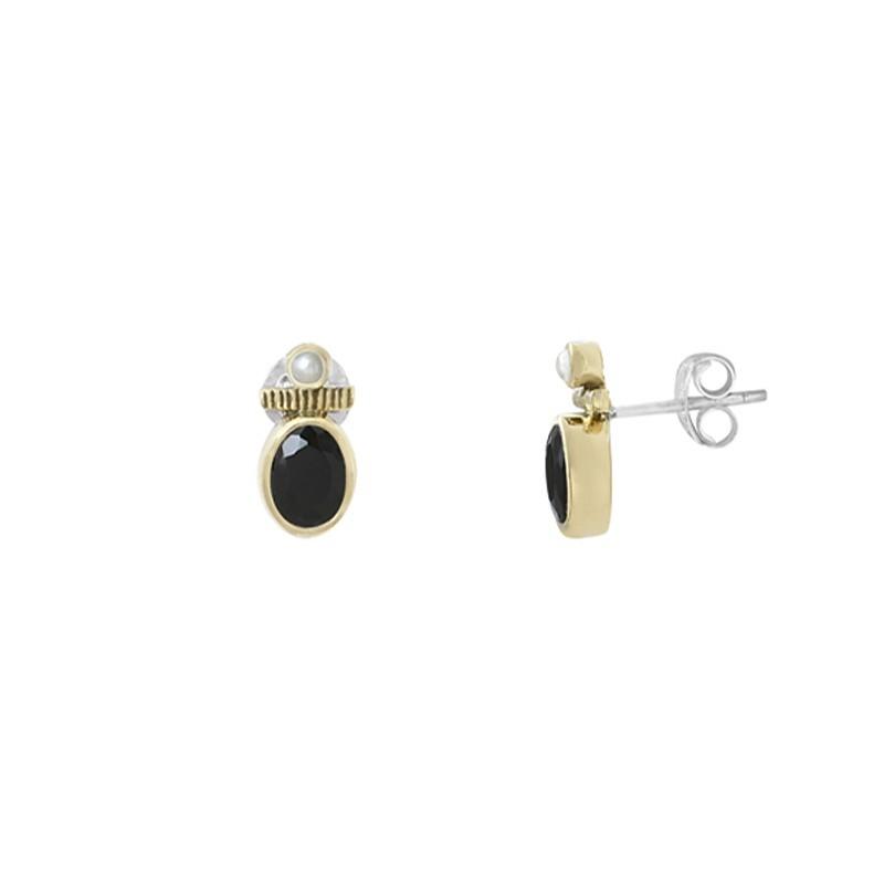 Boucles d'oreilles Puces argent doré - Onyx noir & Perles blanches