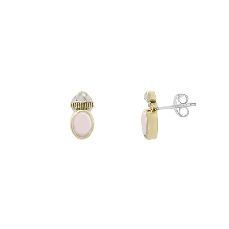 Boucles d'oreilles Canyon - Puces argent doré - Opale rose & Perles blanches