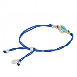 Bracelet cordons bleus argent doré - Turquoise & Perles Lapis Lazuli