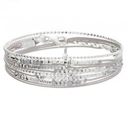 Bracelet multi-tours NEW EGERIE argent - Cordons & Perles gris clairs