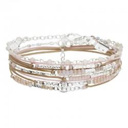 Bracelet Doriane - bracelet multi-tours CHAINE argent - Cordons & Perles beiges et roses