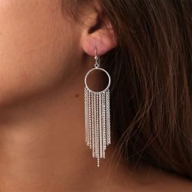 Boucles d'oreilles pendantes LA DANSE argent  - Tombé de onze chaînes