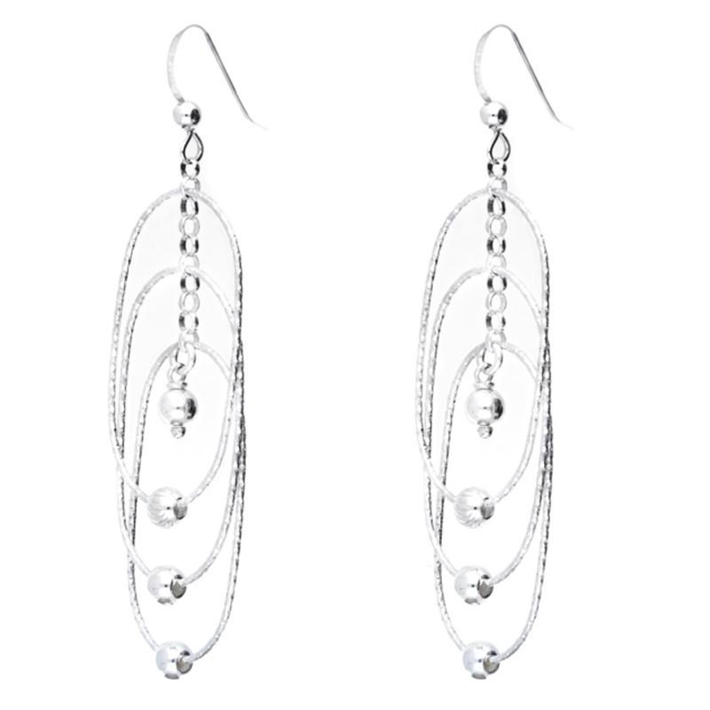Boucles d'oreilles Doriane - pendantes argent  - Trilogie d'anneaux & perles ciselées