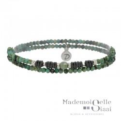 Bracelet multi-tours élastiqué Argent - Turquoises africaines & Hématites