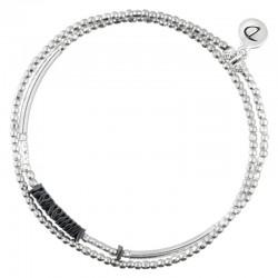 Bracelet multi-tours élastiqué Silver  - Tubes & Chips hématite noire
