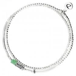 Bracelet multi-tours élastiqué Silver - Tubes & Chips hématite grise turquoise
