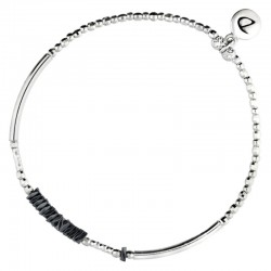 Bracelet élastiqué Silver - Tubes & Chips hématite noire