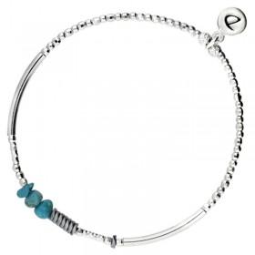 Bracelet élastiqué Silver - Tubes & Chips hématite grise turquoise