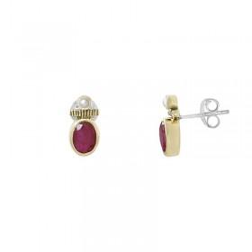 Boucles d'oreilles argent - Pendants dorés Sillimanite rouge & Perle