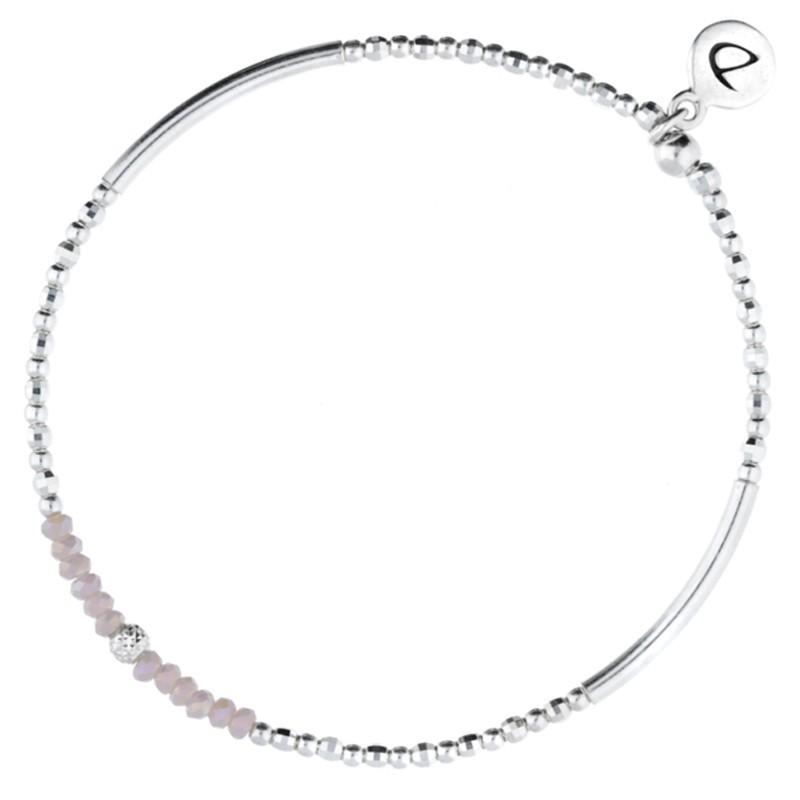 Bracelet élastiqué Silver Flirting - Perles argent & Perles de verre roses