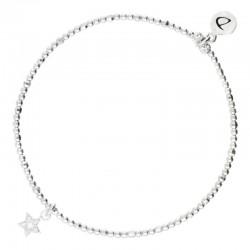Bracelet élastique en argent STAR - Pendentif étoile zircons blancs
