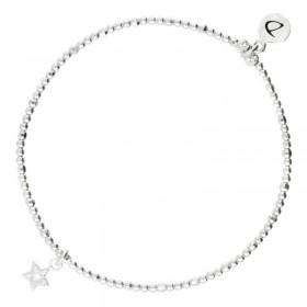 Bracelet Doriane - bracelet élastique en argent STAR - Pendentif étoile zircons blancs