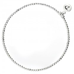 Bracelet élastique en argent PEARL - Enfilade de perles facettées