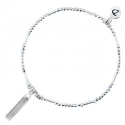 Bracelet élastique en argent SEQUIN - Enfilade de perles & Pompon