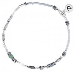 Bracelet élastique BASIC gris argent - Hématites & Perle verte