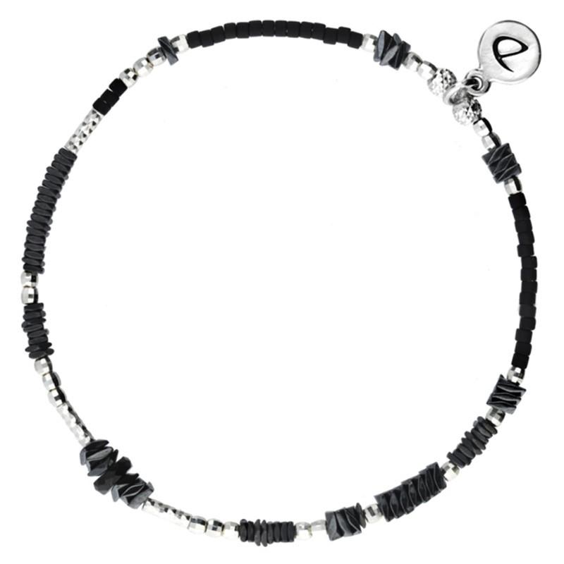 Bracelet élastique BASIC BLACK - Perles argent & Hématites noires