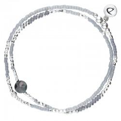 Bracelet multi-tours élastiqué Grey argent - Perles grises &  Solitaire hématite